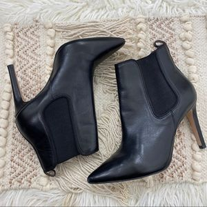 REISS Black Leather Heeled Gold Bar Ankle Booties